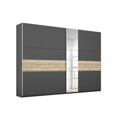 Armoire 2 portes coulissantes 261 cm chêne et gris foncé - ATTIS