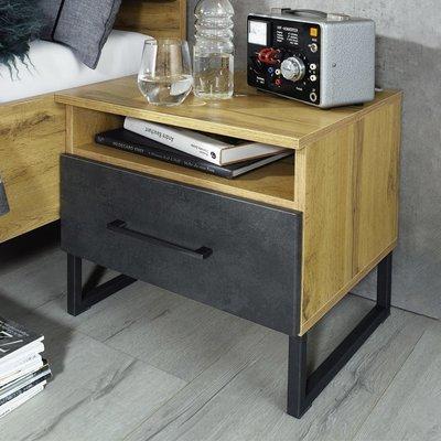 Chevet 1 tiroir décor chêne et antracite - DETROIT