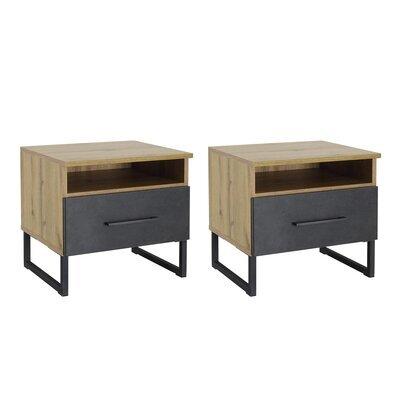 Lot de 2 chevets 1 tiroir décor chêne et anthracite - DETROIT