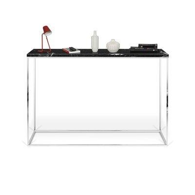 Console avec plateau en marbre noir et piétement chromé - LYDIA