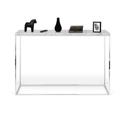 Console avec plateau en marbre blanc et piétement chromé - LYDIA