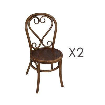 Lot de 2 chaises brasserie en bois et rotin marron - VANY