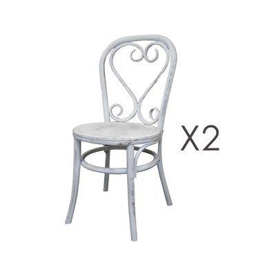Lot de 2 chaises brasserie en bois et rotin blanc - VANY