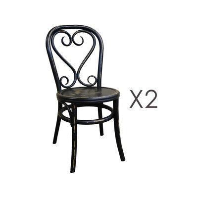 Lot de 2 chaises brasserie en bois et rotin noir - VANY