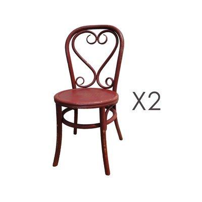 Lot de 2 chaises brasserie en bois et rotin rouge - VANY