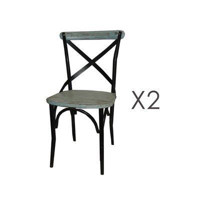 Lot de 2 chaises bistrot en métal et pin bleu - BASTY