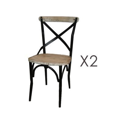 Lot de 2 chaises bistrot en métal et pin blanc - BASTY