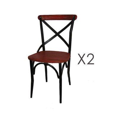 Lot de 2 chaises bistrot en métal et pin rouge - BASTY