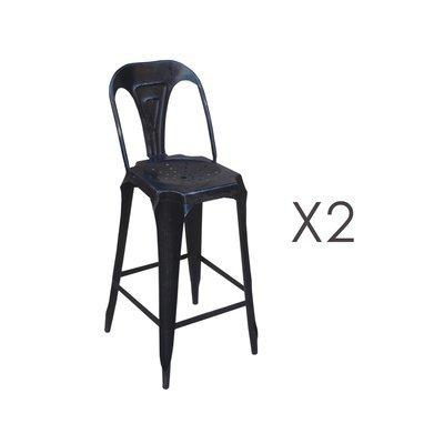 Lot de 2 chaises de bar hauteur 74 cm en métal noir vieilli - TALY