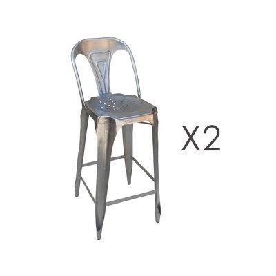 Lot de 2 chaises de bar hauteur 74 cm en métal finition acier - TALY