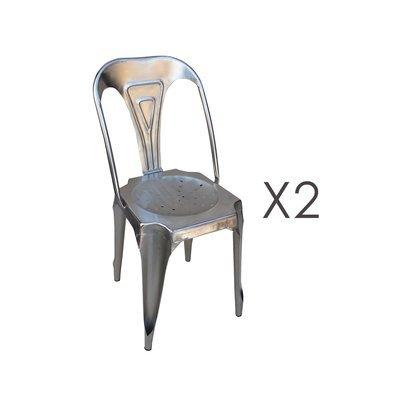 Lot de 2 chaises 38x38x83 en métal finition acier - TALY