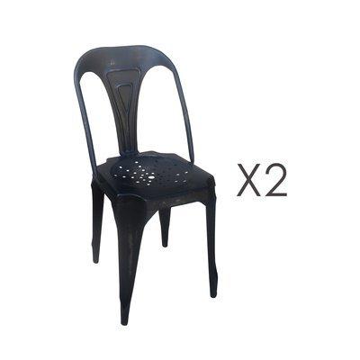 Lot de 2 chaises 38x38x83 en métal noir vieilli - TALY