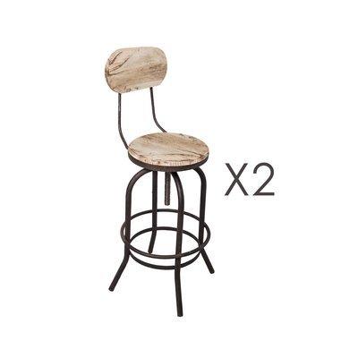 Lot de 2 chaises de bar en pin vieilli blanc et métal - MAGNY