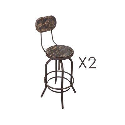 Lot de 2 chaises de bar en pin vieilli noir et métal - MAGNY