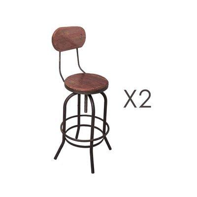 Lot de 2 chaises de bar en pin vieilli rouge et métal - MAGNY