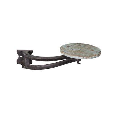 Tabouret à fixer 30x56 cm en métal et bois bleu - MESNIL