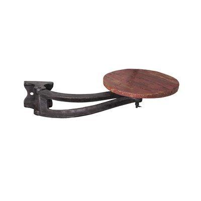 Tabouret à fixer 30x56 cm en métal et bois rouge - MESNIL