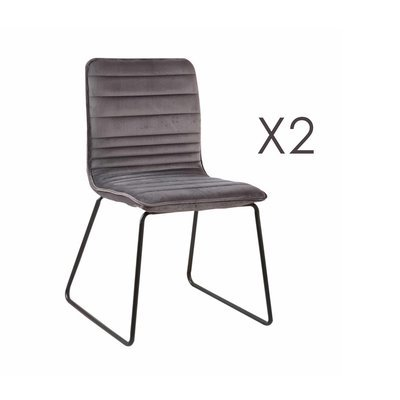 Lot de 2 chaises 63x60x80 cm en velours beige MANNY
