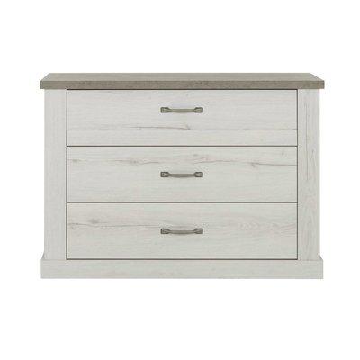 Commode 3 tiroirs décor chêne blanchi et béton - ZAMOY