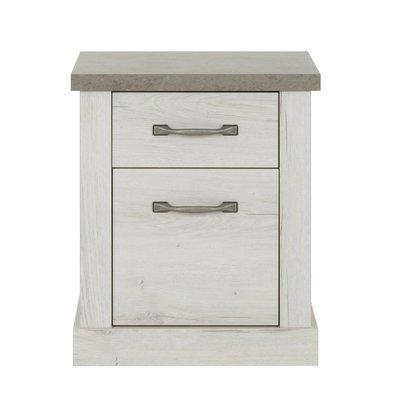 Chevet 1 porte et 1 tiroir décor chêne blanchi et béton - ZAMOY