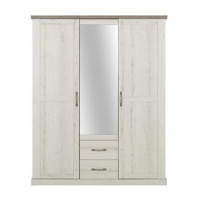 Armoire 3 portes et 2 tiroirs décor chêne blanchi et béton - ZAMOY