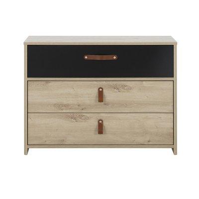 Commode 3 tiroirs décor chêne et noir - GOYA