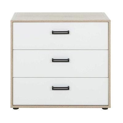 Commode 3 tiroirs décor chêne sonoma et blanc - THEO