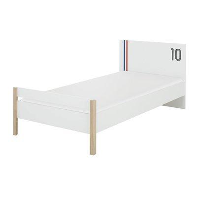 Lit 1 personne 90x190 cm décor chêne sonoma et blanc - THEO
