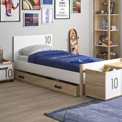 Lit 90x190 cm avec tiroir décor chêne sonoma et blanc - THEO
