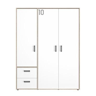 Armoire 3 portes et 2 tiroirs décor chêne sonoma et blanc - THEO