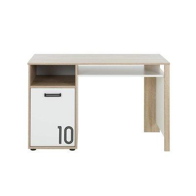 Bureau 1 porte décor chêne sonoma et blanc - THEO