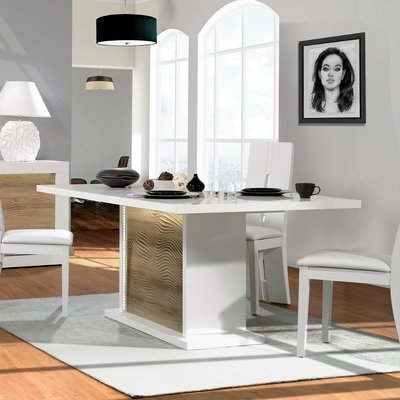 Table à manger 180/225x100x76 cm blanc brillant et chêne - FLOYD