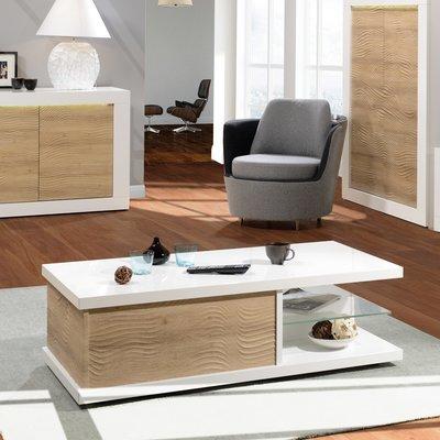 Table basse 1 tiroir 120x60x37 cm blanc brillant et chêne - FLOYD
