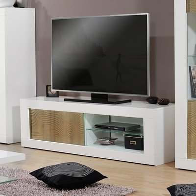 Meuble TV 1 porte 170x45x50 cm blanc brillant et chêne - FLOYD