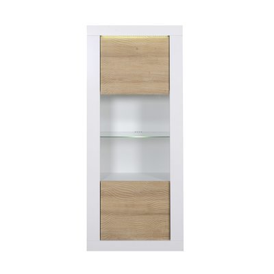 Vitrine 1 porte 80x45x190 cm blanc brillant - FLOYD