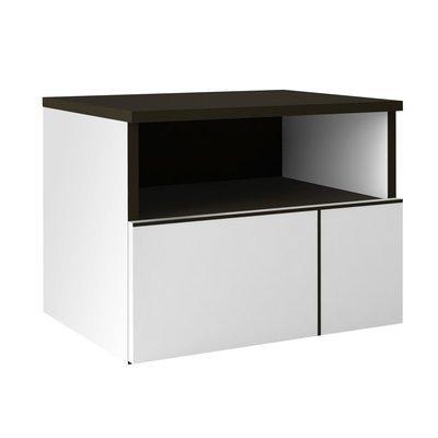 Chevet 1 tiroir 49x38x42 cm blanc et gris foncé - SPIGA