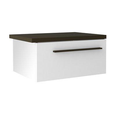 Chevet suspendu droit 1 tiroir blanc et gris foncé - SPIGA