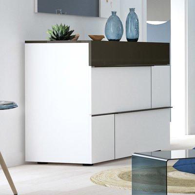 Commode 3 tiroirs 120x50x85 cm blanc et gris foncé - SPIGA
