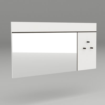 Miroir avec 3 patères 120x60 cm blanc et gris foncé - SPIGA