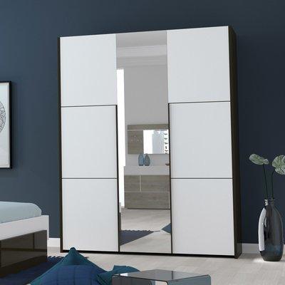 Armoire 3 portes 162x57x209 cm blanc et gris foncé - SPIGA