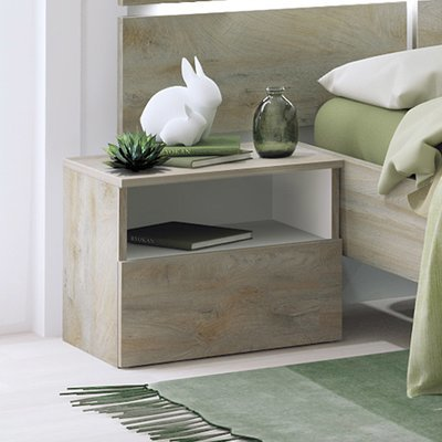 Chevet 1 tiroir 49x38x42 cm blanc et chêne - SPIGA