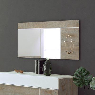 Miroir avec 3 patères 120x60 cm blanc et chêne - SPIGA