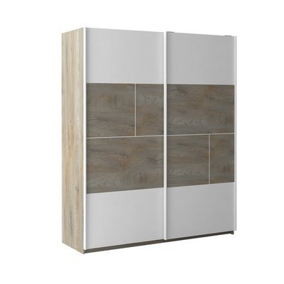 Armoire 2 portes 180x61x215 cm blanc et chêne