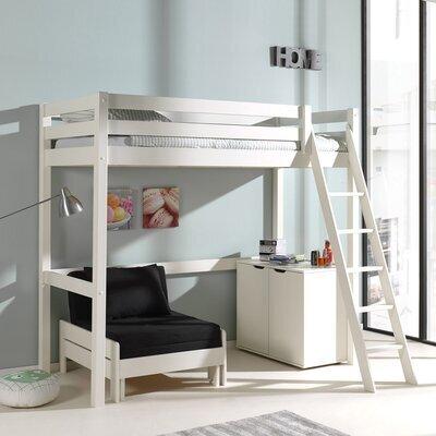 Lit surélevé 90x200 cm avec fauteuil et commode 2 portes blanc - PINO