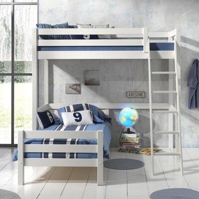 Lit surélevé et lit bas 90x200 cm blanc - PINO