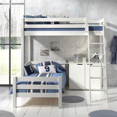 Lit surélevé et lit bas 90x200 cm avec commode 2 portes blanc - PINO