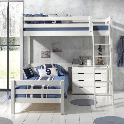 Lit surélevé et lit bas 90x200 cm avec commode 4 tiroirs blanc - PINO