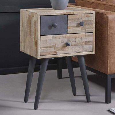 Chevet 3 tiroirs 42x31x63 cm en teck recyclé et métal - TREKA