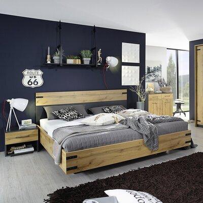 Lit 140x190 cm avec 2 chevets décor chêne et gris - AUSTIN