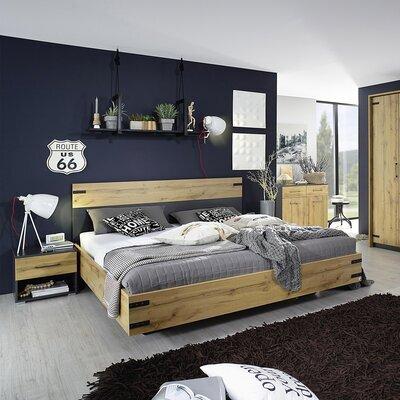 Lit 160x200 cm décor avec 2 chevets chêne et gris - AUSTIN